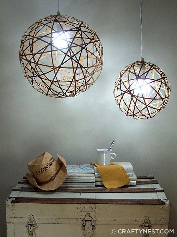 Bamboo orb pendants - on