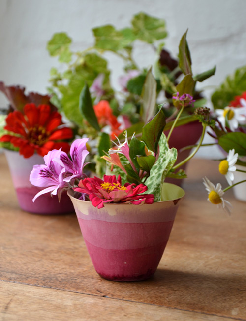 crafts flower pots: we like it wild, dip dye cups