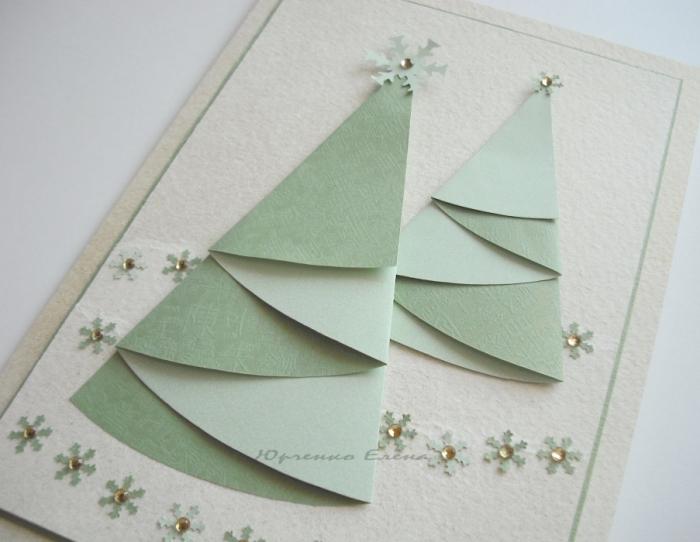 Как сделать открытку с елочкой из бумаги