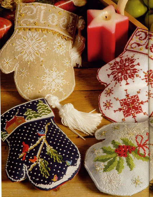 christmas, new year's craft ideas: embroidered mittens