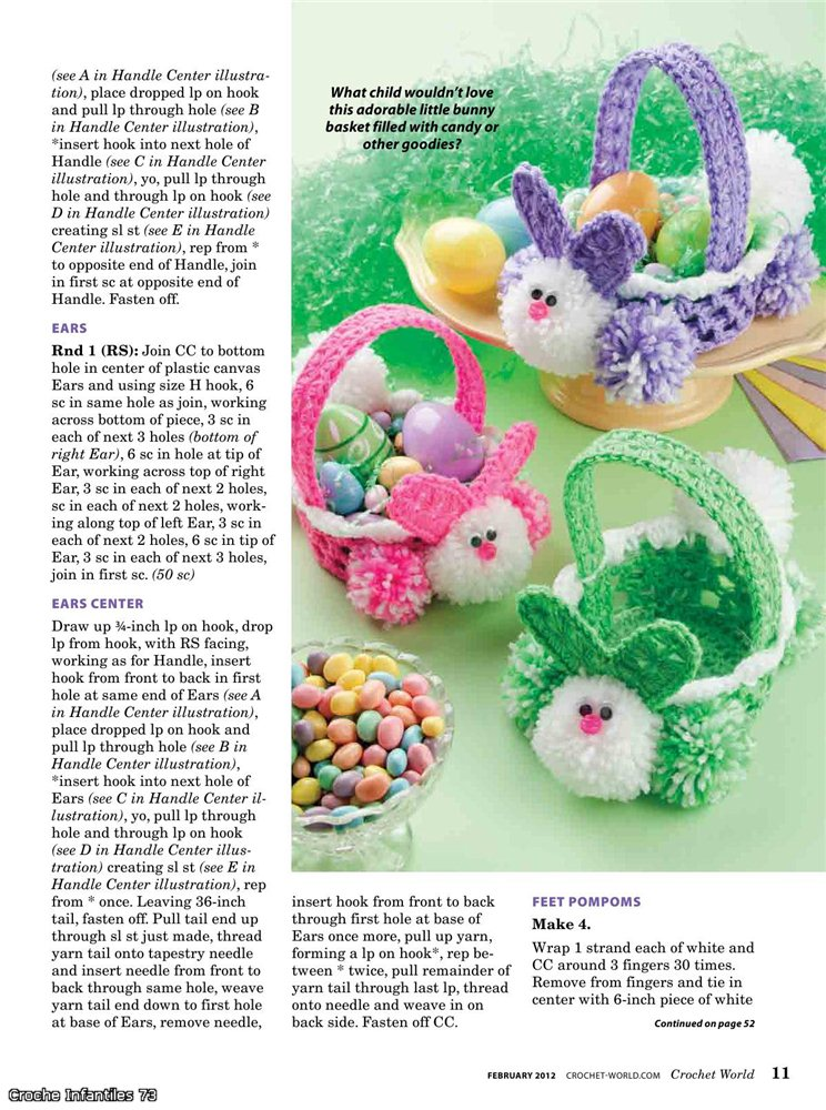 easter crafts for kids: crochet bunny basket