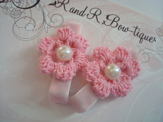 PInk Crochet Flower Clips