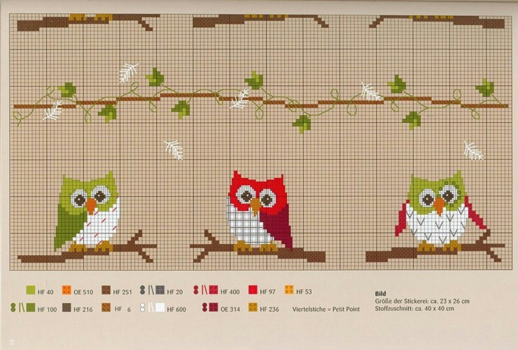halloween craft ideas: embroidered picture, owl cross stitch kits