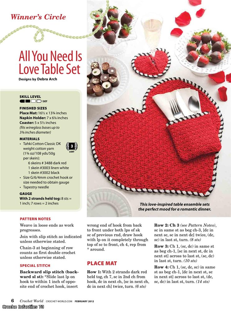 love table set, crochet patterns