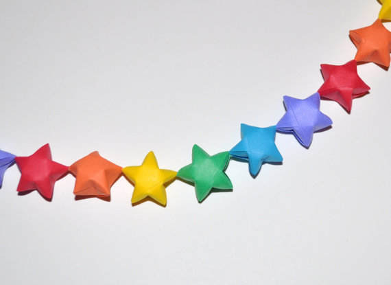 new year garland out of recycled paper stars