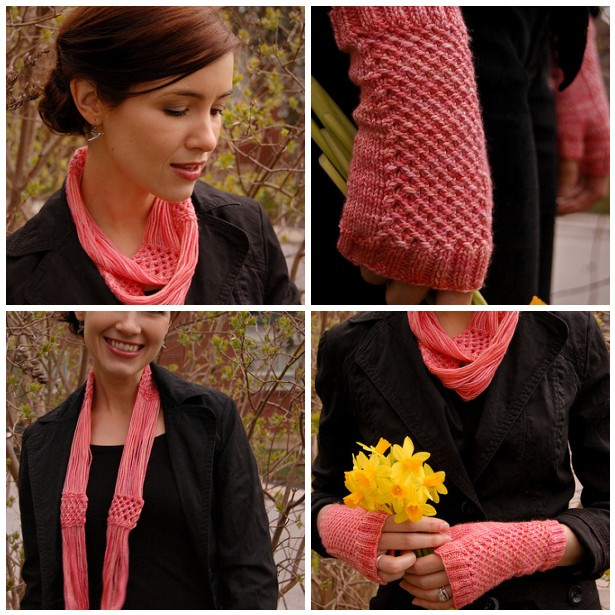 Pink Grapefruit Cowl and Mitts