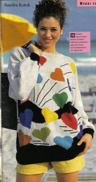 valentine fashion for girl: pullover with multicolored hearts.