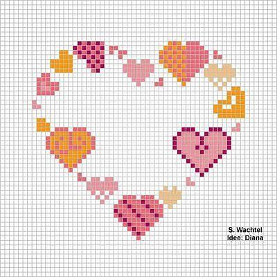 Вышивка крестом маленьких сердечек 70