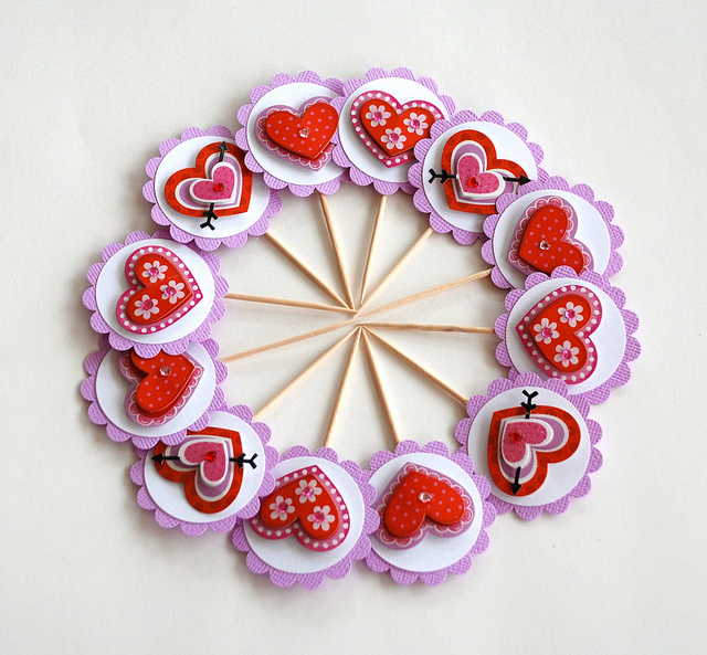 valentine's day -heart cupcake toppers