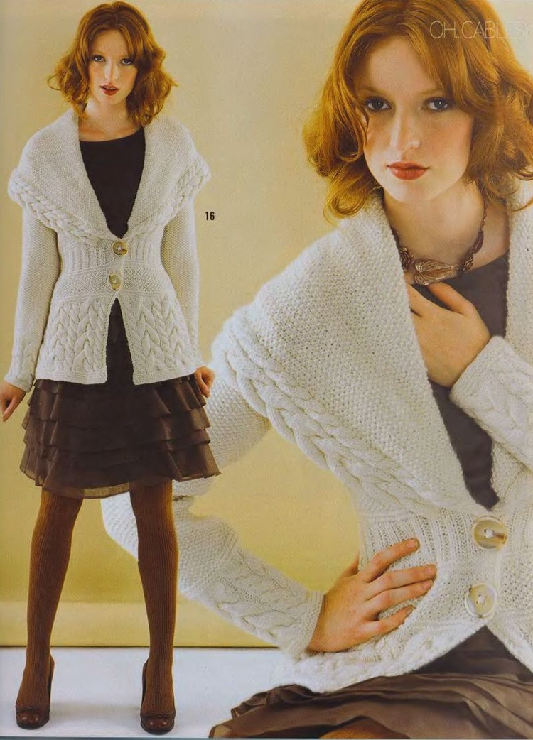 cabled jacket for girl, knitting patterns