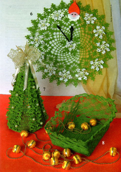 christmas crafts ideas: crocheted christmas clock, christmas tree