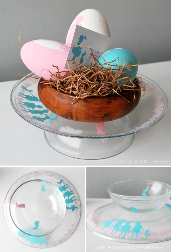 funny and lovely crafts: easter silhouette plates & bowls tutorial