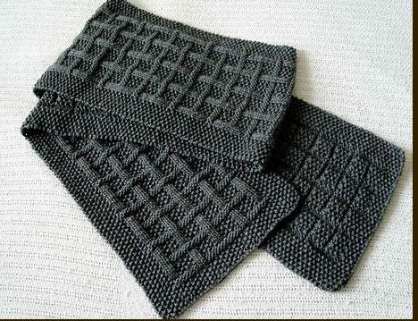 simple scarf, knitting pattern for men