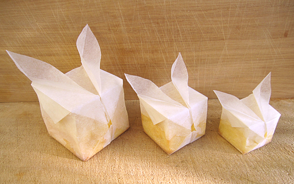 cream cheese muffins baked in origami parchment paper bunny cube balloons