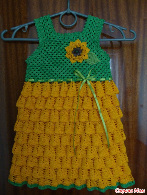 crochet sunflower dress for baby girls