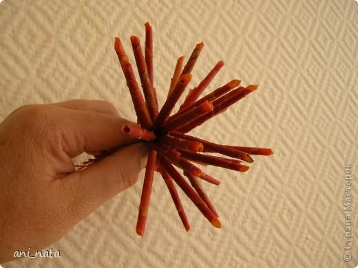 Мастер-класс Моделирование: Хризантемы из осенних листьев. Бумага гофрированная, Листья, Нитки Праздник осени. Фото 10