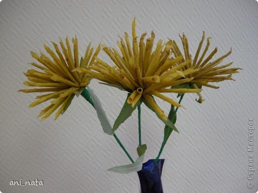 Мастер-класс Моделирование: Хризантемы из осенних листьев. Бумага гофрированная, Листья, Нитки Праздник осени. Фото 21