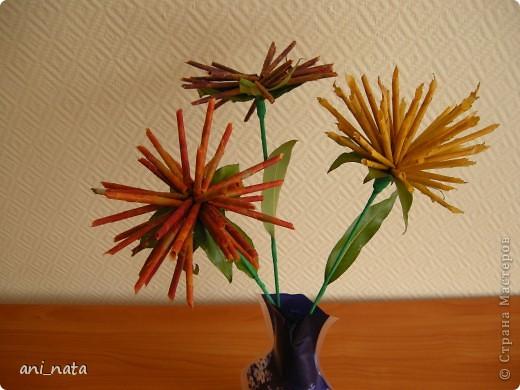 Мастер-класс Моделирование: Хризантемы из осенних листьев. Бумага гофрированная, Листья, Нитки Праздник осени. Фото 22