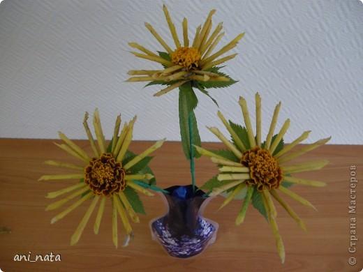Мастер-класс Моделирование: Хризантемы из осенних листьев. Бумага гофрированная, Листья, Нитки Праздник осени. Фото 24