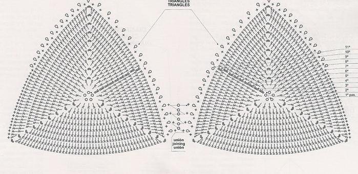 Схема для вязания крючком лифа