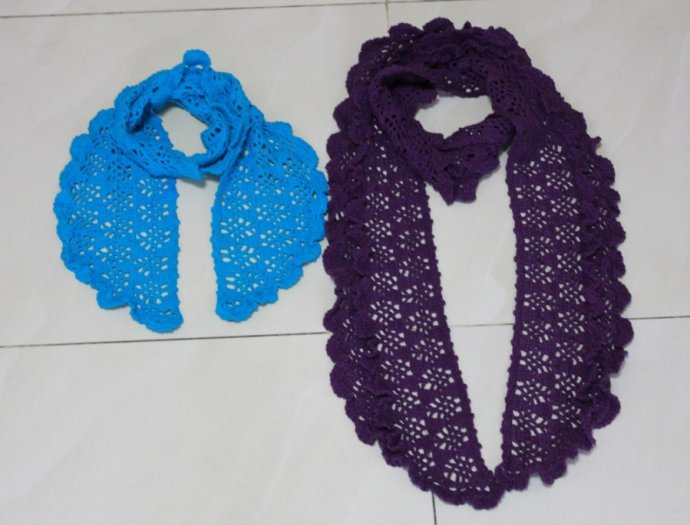crochet lace scarf for little girl and mum - crafts ideas ...