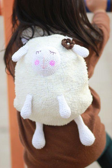 crochet sheep backpack for kids