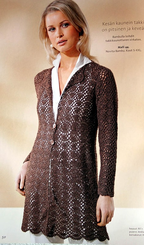 crochet beauty lace for long jacket and dress