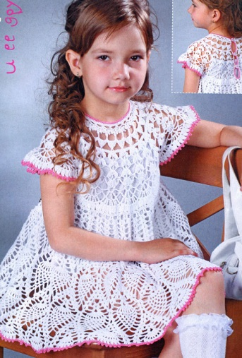 crochet lace pineapple baby dress