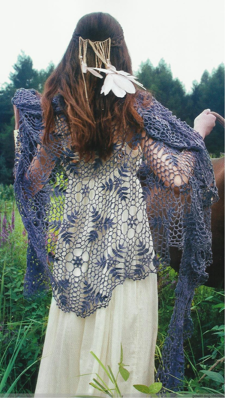 crochet lace scarf of leaves