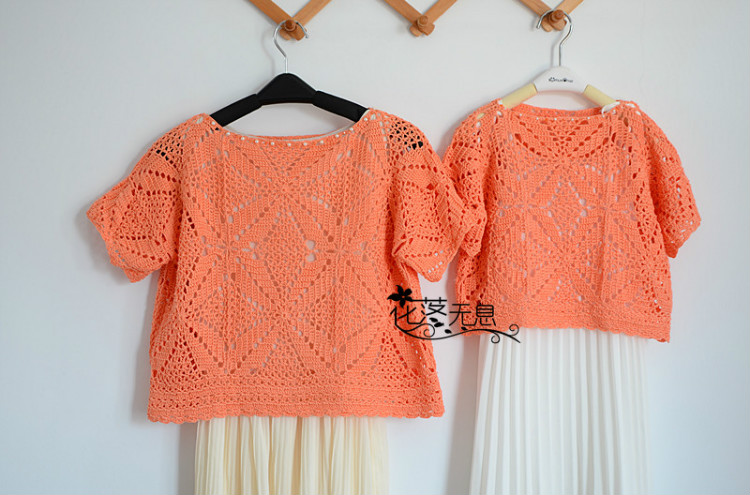 crochet orange tunic for girl