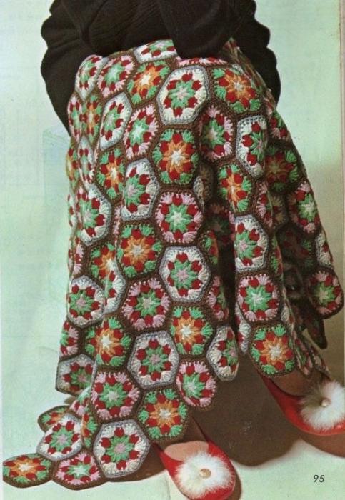 crochet plaid hexagonal motifs