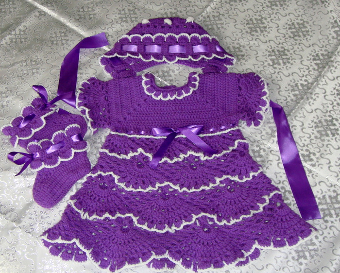 crochet purple baby dress, hat and booties
